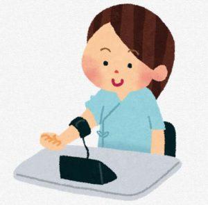 血圧を計る女性のイラスト