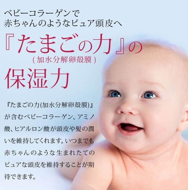 赤ちゃんのような頭皮・髪を維持するたまごの力
