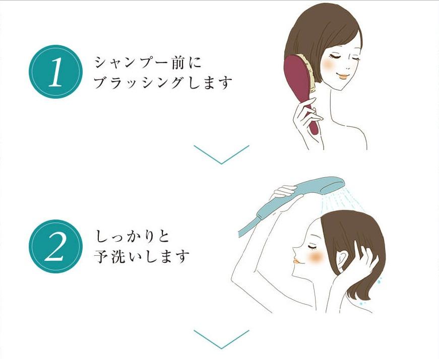 黒髪クリームシャンプーKAMIKA(カミカ) 使い方1