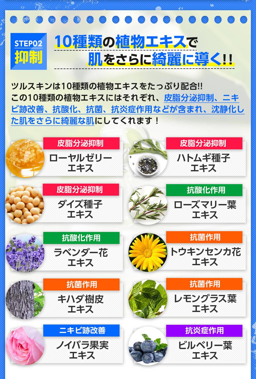 10種類の植物エキス配合!皮脂の抑制・ニキビ跡の改善・ニキビを抑える効果